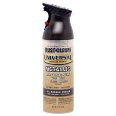 Rustoleum - Universal Metallic Rubbed Oil Bronze -  Spray paint for shower surround (door trim).  Door knobs, light fixtures, anything metal or plastic...