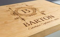 """Personalized Cutting Board, Custom Engraved -11x15"""" (Cherry) - Wedding Gift, Anniversary Gift, Housewarming Gift. This item is made from genuine wood available in three natural finishes: maple, cherry, or walnut. Our cutting boards are reinforced with organic mineral oil, intended for food safe cutting boards, thus ensuring the durability of your personalized board."""