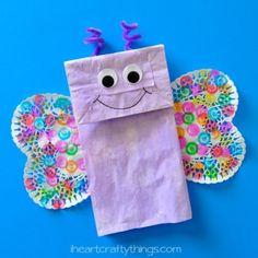 Paper bag butterfly craft - acraftylife.com - lots of bug crafts #spring #kidscraft #craftsforkids