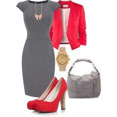 Blazer Vermelho + Vestido Cinza + Scarpin Vermelho