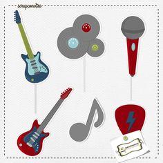 Toppers para Doces ou Cupcake, instrumentos musicais