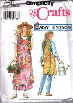Simplicity 7181, Misses' Wrap Around Apron in Two Lengths - Daisy Kingdom.  Simplicity 7481 Sizes: Small (10-12); Bust 32 1/2 - 34; Waist 25 - 26 1/2; Hip 34 1/2 - 36 Medium (14-16);  Bust 36 - 38; Wa