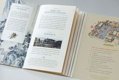 A fold-out map allows simultaneous browsing next to stair-stepped pages. Lan Su Visitor Guide. // Design: Sockeye Creative