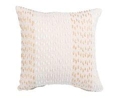 Cojín de algodón bordado a mano, beige - 45x45 cm