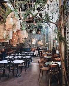 PlantFilled Restaurants Around the World Tips For Decorating With Greenery is part of Bar design restaurant Does your plant collection need a refresh We& feeling inspired by these 11 lush restau - Cafe Restaurant, Design Bar Restaurant, Oyster Bar Restaurant, Restaurant Lighting, Restaurant Ideas, Restaurant Tables, Deco Cafe, Resto Paris, Decoration Restaurant