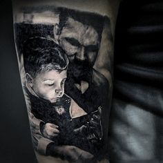 Grey Colored 3D Family Tattoo Of Dad Watching Son Play Forearm