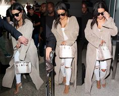 Kim Kardashian arriving with Kanye West at LAX on June 14, 2016, just in time for North's third birthday. She sported J. Brand distressed jeans, a body suit and Yeezy Season 2 Lucite sandals.