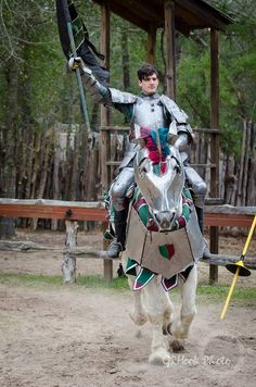 Harry Bouchard on the jousting horse Marcus, a Percheron gelding, mid-faire competitive jousting tournament, Sherwood Forest Faire 2015  (photo by GRHook Photo)