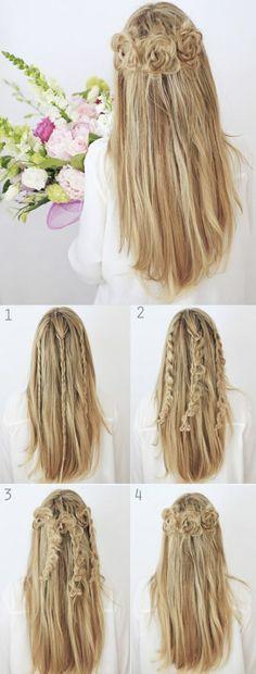 lange, glatte, blonde haare, frisur mit rosen