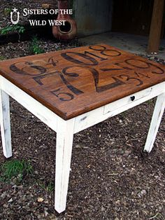 GR8 looking table top - Can also do chairs, a trunk, or old door for wall art - Pattern from PB (have it! yes!!)