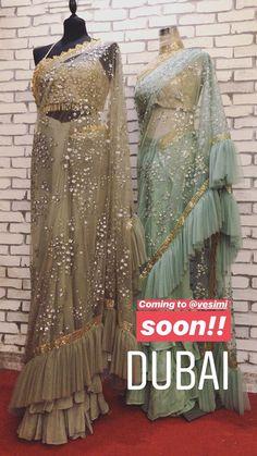 Follow disha bhansali for more☺ Saree Gown, Lehenga Saree, Trendy Sarees, Stylish Sarees, Saree Draping Styles, Saree Styles, Indian Dresses, Indian Outfits, Indian Look