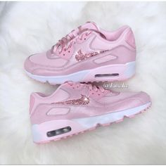 Nike Air Max 90 Prism pink/white Customized With Light Pink Swarovski... ($159) ❤ liked on Polyvore featuring shoes, shiny shoes, light pink shoes, logo shoes, white shoes and polish shoes