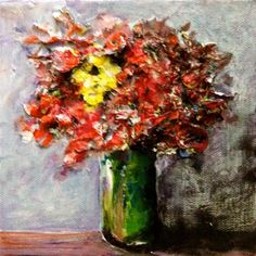 "Daily Paintworks - ""The Yellow Flower"" - Original Fine Art for Sale - © Debbie Yacenda"