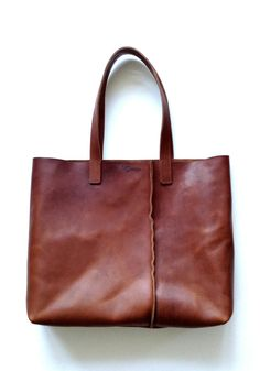 Vegetable tanned large simple deep cognac brown leather tote bag by HALFMOON for travel, beach, market or your laptop Leather Gifts, Handmade Leather, Brown Leather Totes, Hand Bags, Tote Bags, Laptop, Simple, Lady, My Style