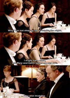 """""""""""The plot thickens!"""" I just love the Dowager Countess. It's like she's watching the show and commenting on it along with us. She just maintains this awesome disconnect and manages to be amused by the drama. Downton Abbey, Movies Showing, Movies And Tv Shows, Lady Sybil, Lady Violet, Dowager Countess, Maggie Smith, Poldark, Period Dramas"""