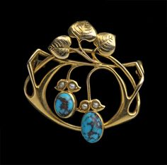 Art Noveau  Attr. Liberty&Cia Gold,turquoise,pearl British,1905