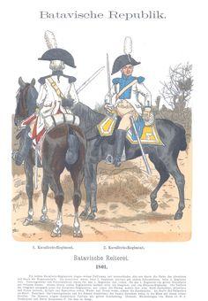 Vol 10 - Pl 23 - Batavische Republik. One Republic, French Revolution, Napoleonic Wars, Swiss Army, Military History, Dutch, Military Uniforms, Pictures, Historia