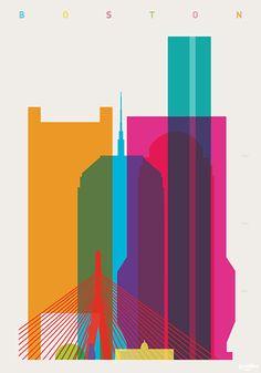 Awesome Skyline Design of Boston Puts Landmarks on Neon Display