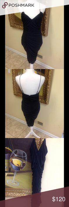 Hailstones Heritage Black Dress Size M Stunning black Halston Heritage black dress. Gorgeous ruching throughout, beautiful stretch fabric, great design, low price. Halston Heritage Dresses Midi