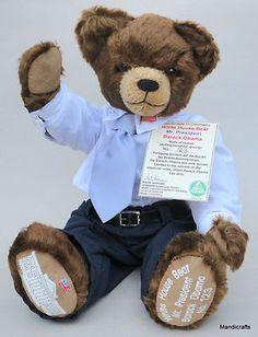 Barack Obama President Teddy Bear 2009 Hermann Spielwaren Germany Mohair Plush Limited Edition No 123/349