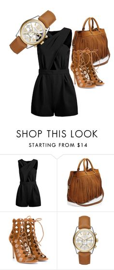 """""""Leather/brown"""" by passionforstyleandfashion ❤ liked on Polyvore featuring Milly, Gianvito Rossi and Michael Kors"""