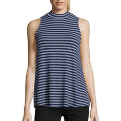 Wyatt Navy And Ivory Striped Rib Knit Sleeveless Mock Neck Blouse... ($49) ❤ liked on Polyvore featuring tops, blouses, sleeveless blouse, navy blue top, ivory blouse, stripe blouse and blue striped blouse