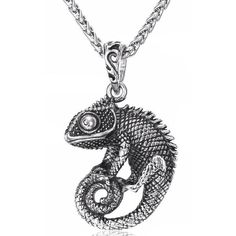 Check out our Chameleon Necklace Silver Plated Reptile Pendant