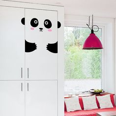 Peppi the pretty Panda Door decal / Wall decal for doors, windows or closets / Nursery decor /Cute Panda Vinyl Sticker