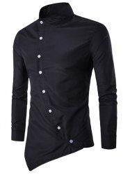 Long Sleeve Color Block Linellae Print Shirt in Deep Blue   Sammydress.com Mobile