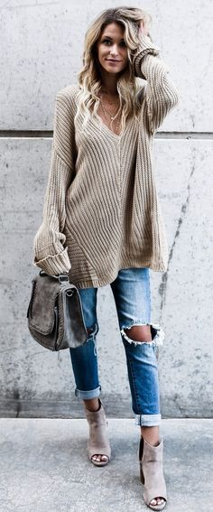 f6e31aac18 Beige sweater and booties with distressed denim jeans and cute gray leather  handbag. Boyfriend Pants
