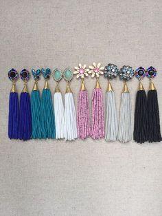 "Multi Stud Beaded Tassel Earrings on Etsy Multi Stud Beaded Tassel Earrings"", ""pinner"": {""username"": ""first_name"": ""Preciously"", ""domain_url"": ""www.ly"", ""is_default_image"": false, ""image_medium_url"":. Tassel Earing, Beaded Tassel Earrings, Tassel Jewelry, Beaded Earrings, Diy Jewelry, Beaded Jewelry, Jewelry Accessories, Jewelry Design, Fashion Jewelry"