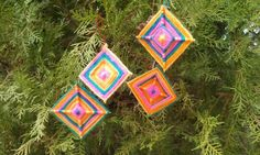 Gods Eye - Ojo de Dios - Eye of God - Christmas Tree Decorations - Plant Decorations - Wall Decorations - Gift Decorations - Handwoven - Set of 12  These Gods Eyes are beautifully handwoven with bright-colored yarns and intricate designs. Each Gods Eye is 3 inches in diameter. You will receive 12, three inch Gods Eyes when you order. Please note, each Ojo de Dios is individually made by hand, so each one will be a slightly different design, with the same vibrant colors shown in the pictures…