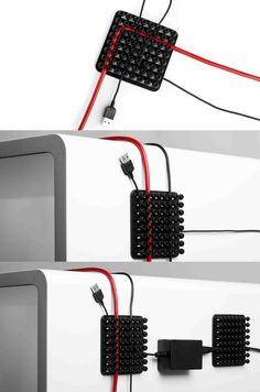 ASYS - Cablox can organize cables and wires. It's a square of 10 x 10 cm with 8 rows of flexible plastic buttons. You put the wires and fits between the rows of straight or twisted. Rows adhesive system that can be attached to any smooth surface.
