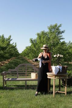 Champagne in the garden, among the peach trees in the Orchard Croft B&B, Canada, Ontario www.orchardcroft.ca