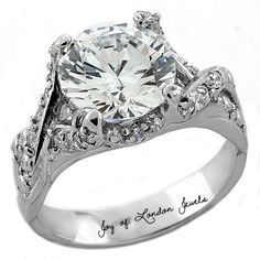 A 3CT Perfect Solitaire Cut Russian Lab Diamond Promise Engagement Anniversary…