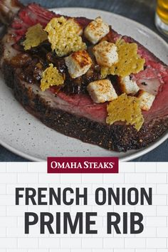 This french onion prime rib roast recipe puts all of the flavors from the popular french onion soup on top of a thick & perfectly cooked slice of prime rib. Rib Roast Recipe, Prime Rib Recipe, Roast Beef Recipes, Rib Recipes, Healthy Recipes, Game Recipes, Healthy Food, Beef Tenderloin Roast, Pork Roast