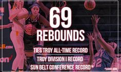 Troy University Women's Basketball ties a program record and sets a Sun Belt (league game) record with 69 rebounds.