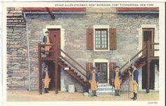 Vintage Postcard Fort Ticonderoga New York NY Ethan Allen Stairway Linen Teich