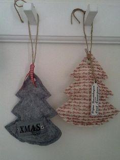 Kerstboom hangertje van stof en stempel