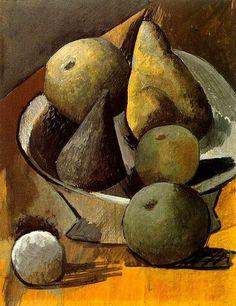 """Pablo Picasso - """"Compotier aux poires et pommes"""". 1908"""