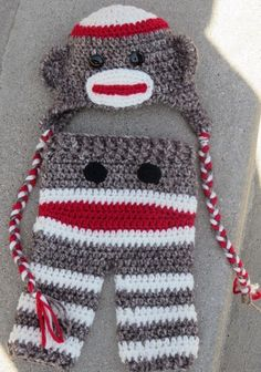 Sock Monkey Hat & Pants  Pattern for pants available for purchase on Etsy.com Free hat pattern @ http://www.repeatcrafterme.com/2012/11/crochet-sock-monkey-hat-pattern.html