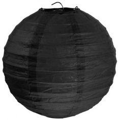 Lanterne boule chinoise papier noir 50 cm pour décoration festive.