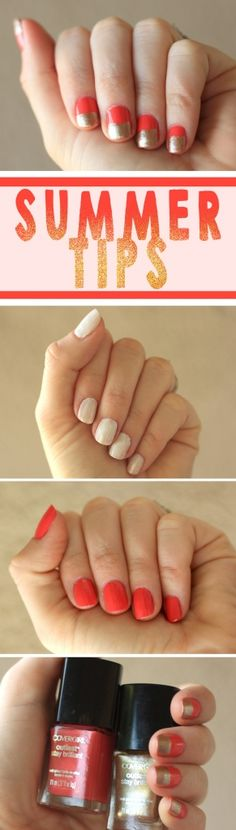 Summer Tips: Gold and Coral Nails #nails #summer