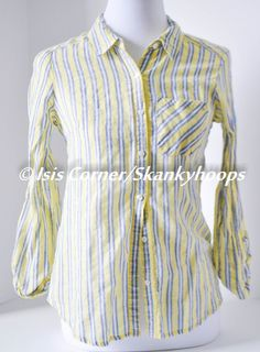 LONG SLEEVE STRIPPED YELLOW TONE SHEER BLOUSE SIZE M FREE SHIPPING LIGHTLY USED #HAVE #Blouse #Casual