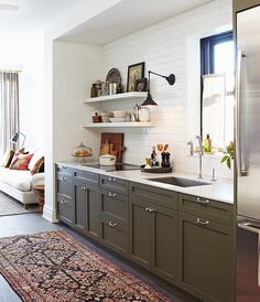 Olive Green Kitchen Cabinets - Olive Green Kitchen Cabinets, 31 Green Kitchen Design Ideas Paint Colors for Green Kitchens Kitchen And Bath, New Kitchen, Kitchen Dining, Kitchen Decor, Kitchen Ideas, One Wall Kitchen, Kitchen Planning, Dining Room, Basement Kitchen