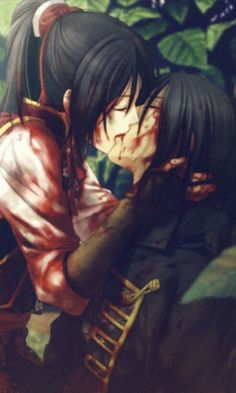 Bloody anime kiss ... its sad this pic reminds me of like him dying and she's kissing him good bye
