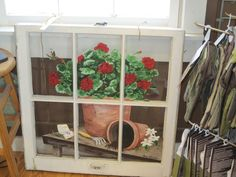 painted old windows | Geranium painted on an old window. DYI project? | craft ideas