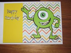 """Mike from Monsters Inc card made using """"Best of Pixar"""" cricut cartridge"""