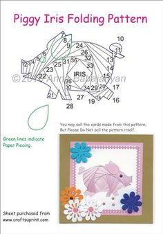 Easy+Iris+Folding+Patterns | Piggy Iris Folding Pattern