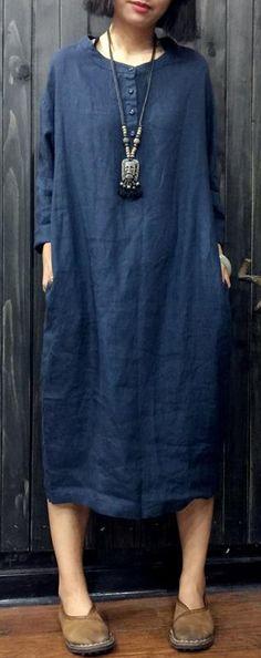 blue women linen shirt casual plus size long sleeve tops#linentop#linen#omychic